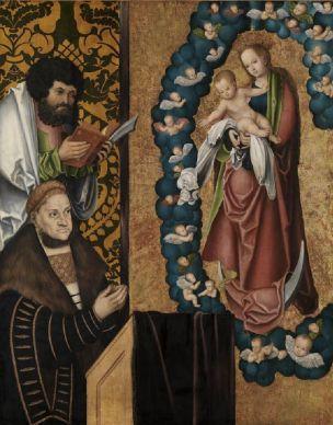 1515 ca Lucas_Cranach_d_Ae_-_Friedrich_der_Weise_in_Verehrung Kunshalle Karlsruhe