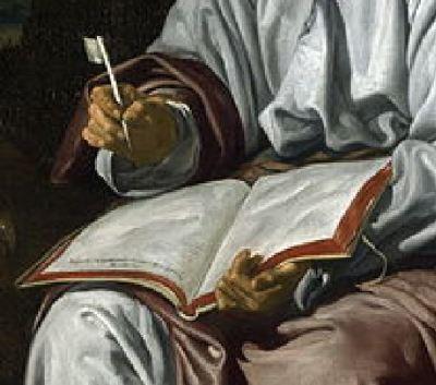1618 Velasquez Saint Jean National_Gallery, Londres detail livre