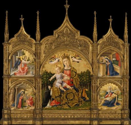 1465 Vivarini The Madonna of Humility (member of the Dominican Order), the Annunciation, the Nativity, and the Pieta MET