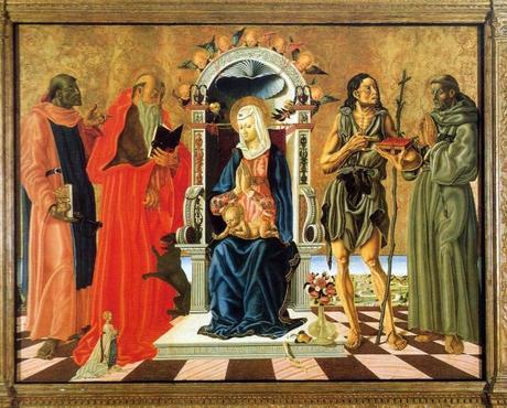1472 Nicola di Maestro Antonio di Ancona, san Leonardo,Girolamo,Giovanni Battista, Francesco d'Assisi e donatrice Carnegie Museum of Art