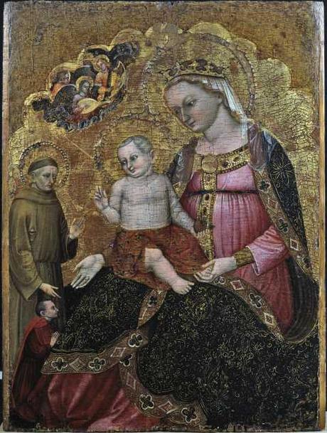 1380-90 Niccolo di Pietro, Madonna con Bambino con san Francesco d'Assisi e donatore coll priv