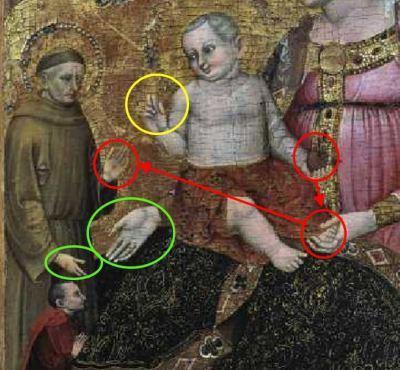 1380-90 Niccolo di Pietro, Madonna con Bambino con san Francesco d'Assisi e donatore coll priv schema