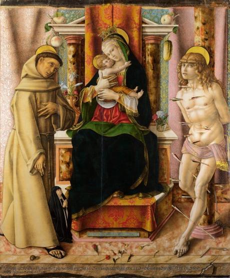 1491 Crivelli Saints Francis and Sebastian avec donatrice Oradea Becchetti, National Gallery