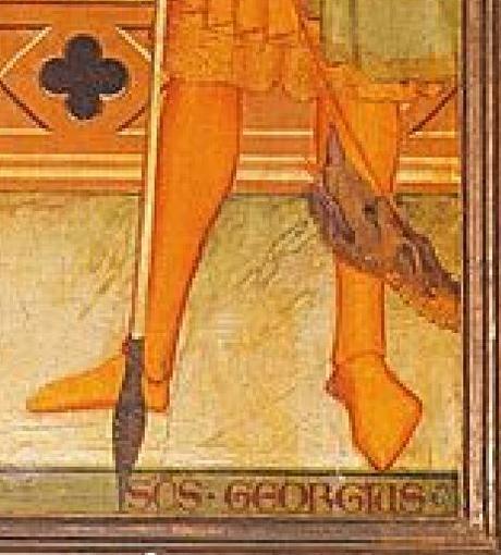 1336 Andrea_orcagna ou Maso di Bianco _ss_Mattia,_Giorgio_e_un_donatore San Giorgio a Ruballa detail