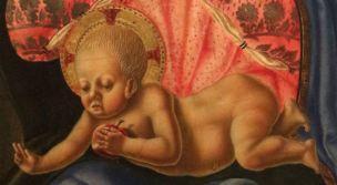 1472 Nicola di Maestro Antonio di Ancona, san Leonardo,Girolamo,Giovanni Battista, Francesco d'Assisi e donatrice Carnegie enfant