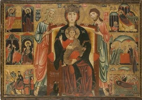 1275-80 Maestro della Maddalena, Madonna con Bambino in trono tra sant'Andrea, san Giacomo e donatore, Musee des Arts Décoratifs, Parigi