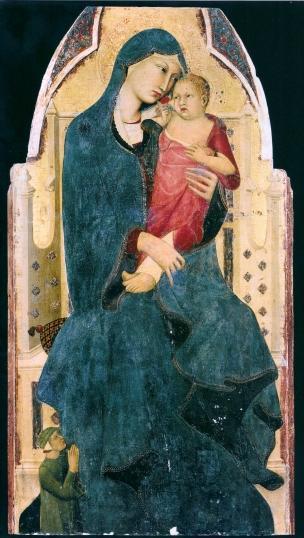 1325-30 Memmi Lippo di Filippuccio Madonna con Bambino in trono e donatore Museo d'Arte Sacra, Asciano