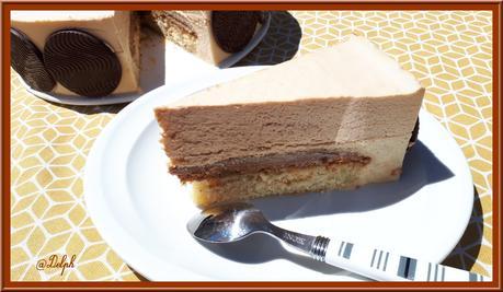 Entremets pêche blanche et chocolat Dulcey