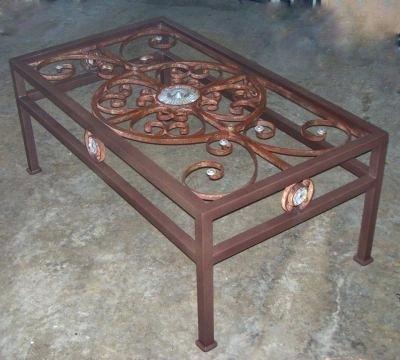 iron gate coffee table live edge trapezoid table base