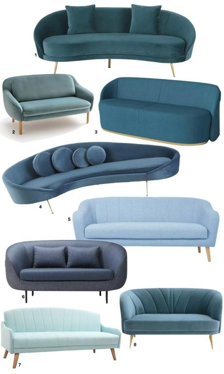 canapé coquillage cocoon velours bleu canard roi shell 50s - blog déco - clem around the corner