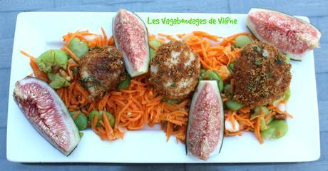 Saint Jacques aux spéculoos et figues sur salade de fèves et carottes
