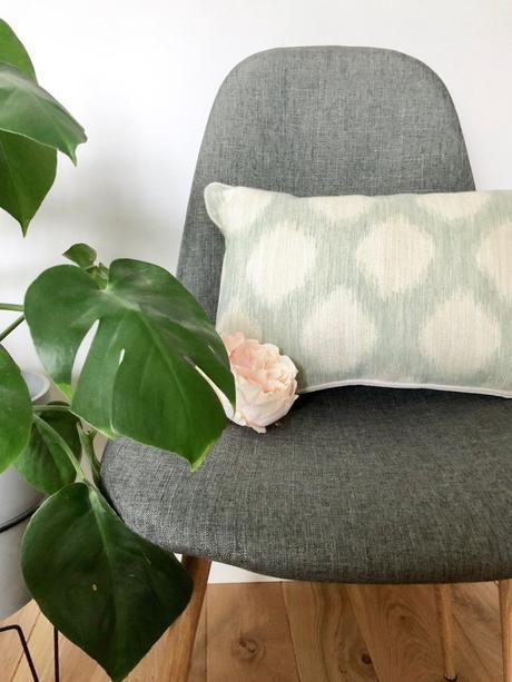 coussin chaise grise plante verte monstera fleur pivoine clematc