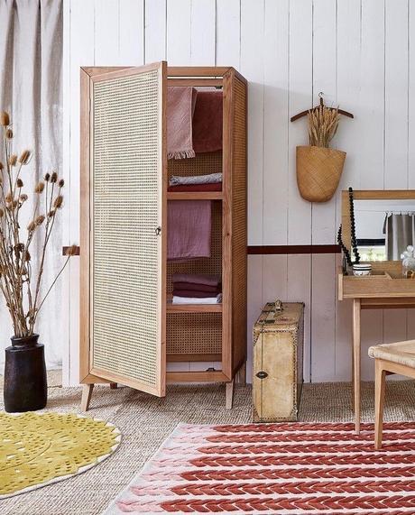 meuble étendoir armoire séchante cannage étendre son linge avec style - blog déco - clem around the corner