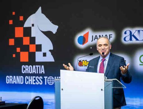 Garry Kasparov lors de la cérémonie d'ouverture du Grand Chess Tour en Croatie - Photo site officiel