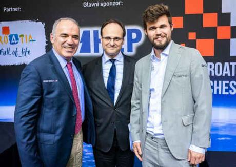 L'ex-champion du monde d'échecs Garry Kasparov et l'actuel tenant du titre, Magnus Carlsen, au Grand Chess Tour en Croatie - Photo site officiel