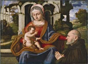 VD 1506 Andrea Previtali The Virgin and Child with kneeling donor by Mellerstain House, collezione Earl of Haddington