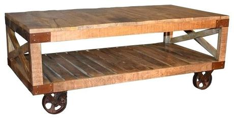industrial coffee table cart solid wood industrial cart coffee table