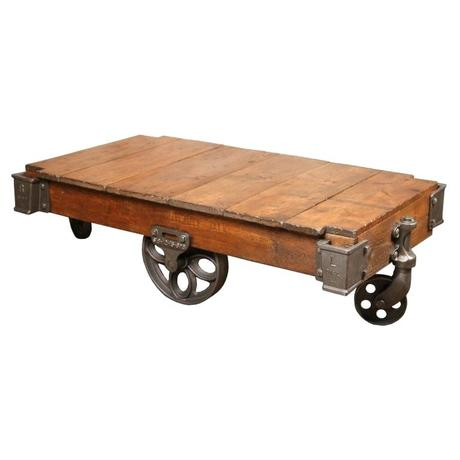 industrial coffee table cart vintage industrial rustic wood cast iron factory coffee table rolling cart for sale