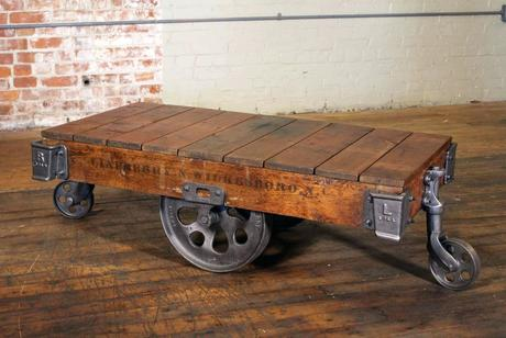 industrial coffee table cart vintage industrial rustic wood and cast iron factory coffee table rolling cart for sale