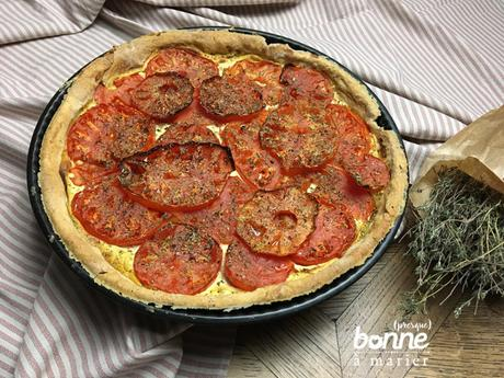 Tarte salée aux tomates cœur de bœuf, ricotta et moutarde