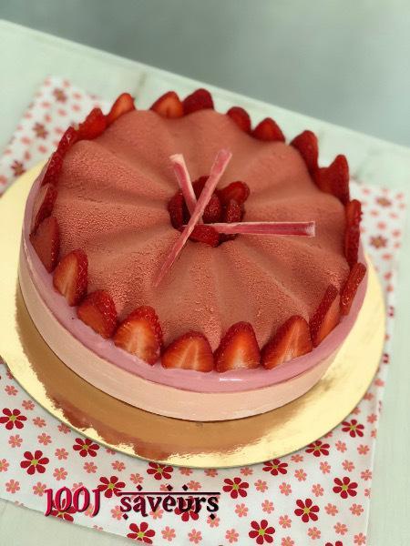 Entremets Pink (fraises et citron vert)