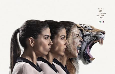 Une campagne transforme les conducteurs en animaux sauvages