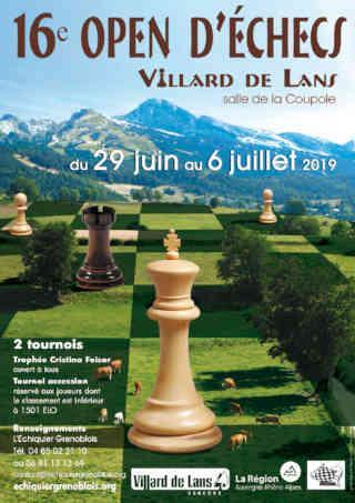 L'affiche du 16e Open d'échecs de Villard-de-Lans (Isère)