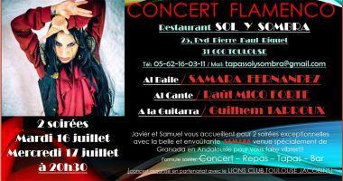 Concert de Flamenco avec Samara Fernandez le 16 et 17 Juillet 2019 au restaurant Sol y Sombra