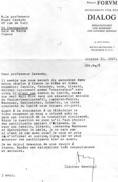 Lettres de E. Lange et G. Nenning (Dialogue chrétiens-marxistes, 1967-1968)