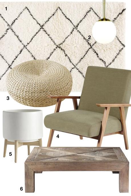 shopping liste visite déco bohème tendance fauteuil luminaire tapis pouf rotin pot de fleur - blog clematc