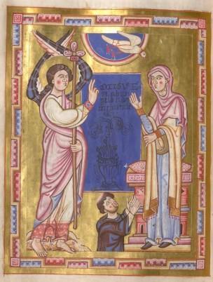 1161-71 Annonciation avec le donateur abbe Walther Breviaire de Michelsbeuern BSB Clm 8271 Munchen, Bayerische Staatsbibliothek