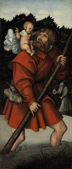 Lucas_Cranach_d.A._(Werkst.)_-_Der_heilige_Christophorus_tragt_das_Jesuskind coll priv