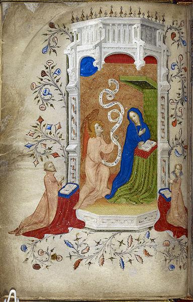 1405-25 Beaufort_Beauchamp_Hours Miniature of the Annunciation, with two donors praying, Royal 2 A. xviii, f. 23v