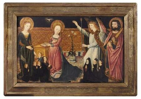 1480 ca Ecole COLONAISE L'Annonciation avec saint Barthelemy, sainte Dorothee et donateurs coll privee