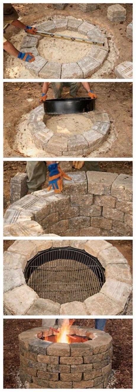 barbecue puit sol pierre cheminée extérieur outdoor déco décoration