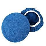 AchidistviQ 2pcs Pro Doux en Microfibre polisseuse Pad Coque pour Peinture de Voiture Care épilation à la Cire de Polissage, Microfibre, Bleu, 9-10 inch