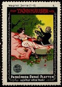 Tannhäuser dans les timbres-réclame Pathéphon-Pathé Platten.