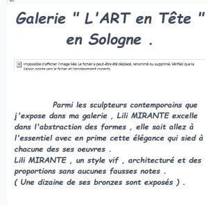 Galerie  » L'Art en Tête » en SOLOGNE  à la Ferté Imbault