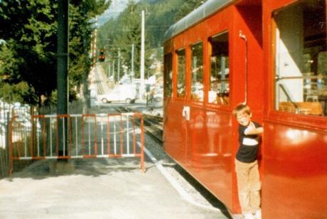 A bord du train du Montenvers (Septembre 1982) © Pierre Guernier