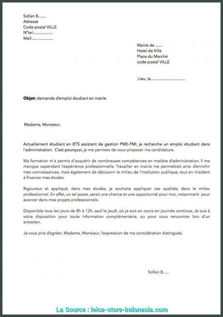 lettre de motivation emploi saisonnier mairie