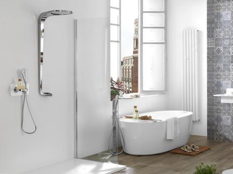 douche Mood chrome design futuriste blanc déco salle de bain futur porcelanosa
