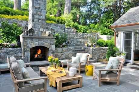 outdoor fireplace coffee table patio wall decorations patio traditional with stone stairs wood coffee table outdoor entertaining