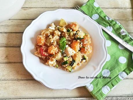 Salade de quinoa aux deux melons, courgette, tomate, feta et basilic