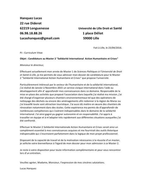 lettre de motivation association humanitaire