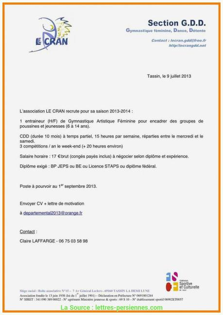 lettre de motivation stage sport