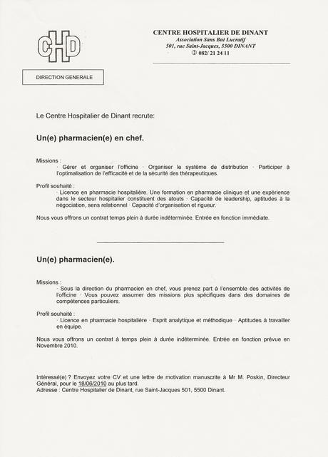 Lettre De Motivation Bp Préparateur En Pharmacie Paperblog