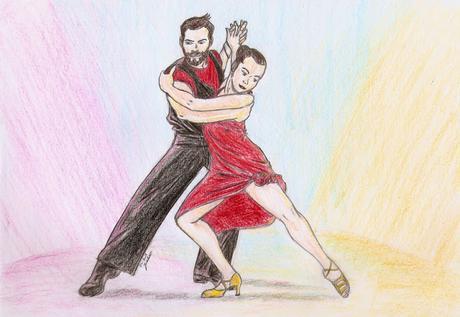 Dessin couleur d'un couple de danseurs par Juju Gribouille