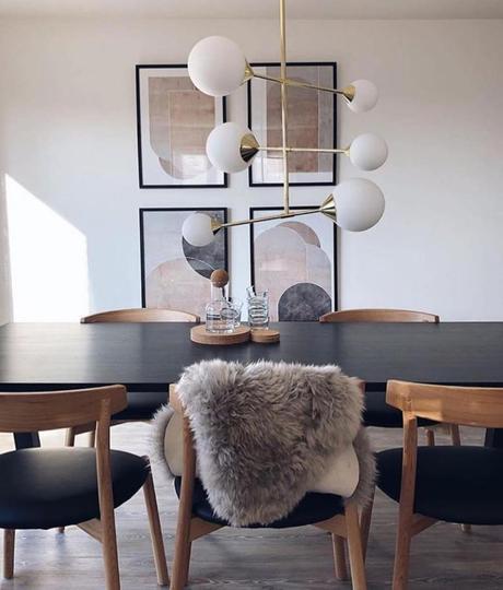 salle à manger suspension laiton boule scandinave art déco