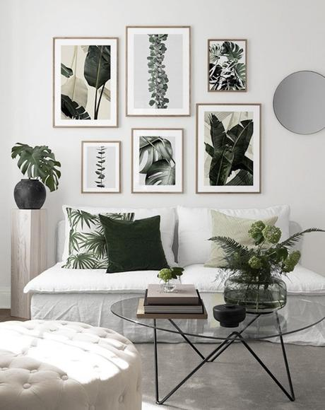 mur de cadres urban jungle salon tendance plante verte - blog déco - clemaroundthecorner