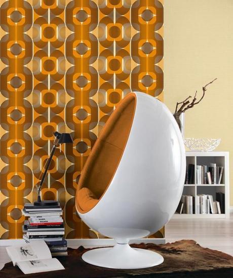 orange marron déco 70s seventies fauteuil oeuf moquette